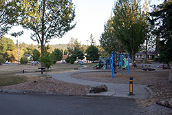 Play equipment at Harriet Spanel Park's northwest corner