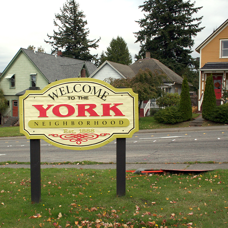 """Welcome to York"" sign"